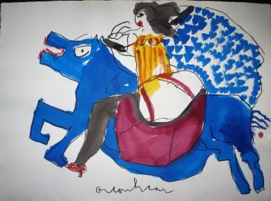 Anton Heyboer vrouw op paard